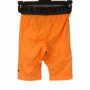 "Adidas Orange Techfit 9"" Fitted Compression Shorts"